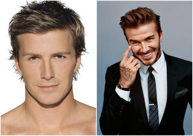 10. David Beckham sin y con barba