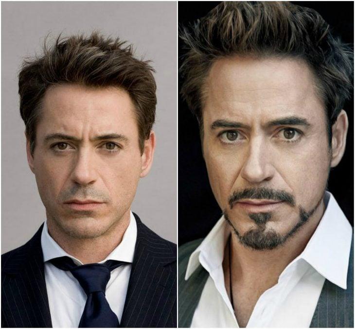 Robert Downey Jr. sin y con barba