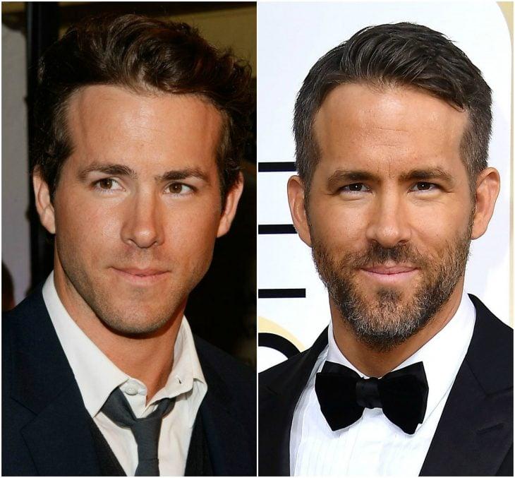 20. Ryan Reynolds sin y con barba