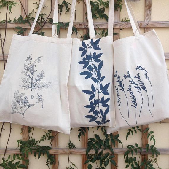 bolsas serigrafeadas de motivos florales