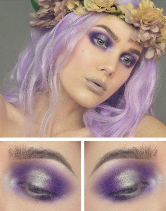 Maquillaje de ojos morado