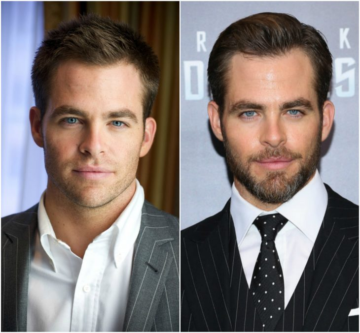 3. Chris Pine sin y con barba