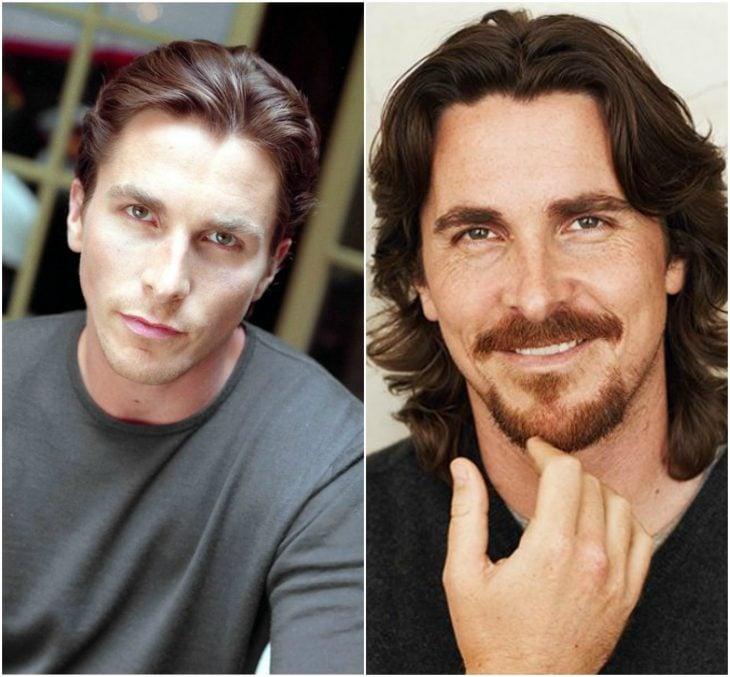 8. Christian Bale sin y con barba