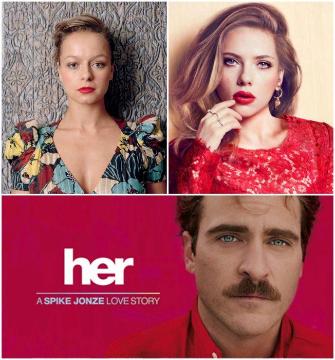 chicas con labios rojos