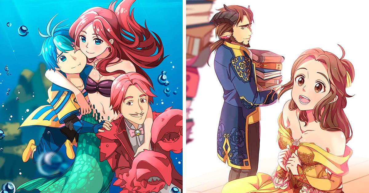 Artista recreó a iconospersonajes Disney al estilo anime, el resultado es encantador