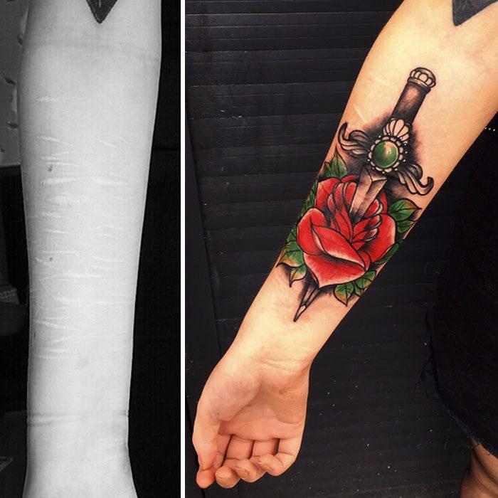 tatuaje de rosa roja