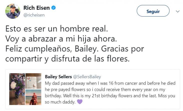 Comentarios en Twitter sobre una chica que recibió flores de su padre fallecido