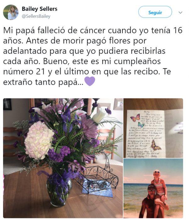 Chica que compartió en twitter la historia de su padre que falleció