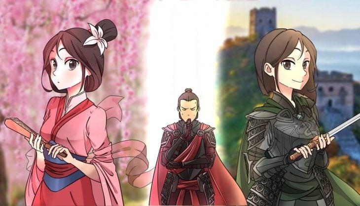 dibujo de Mulan en versión anime