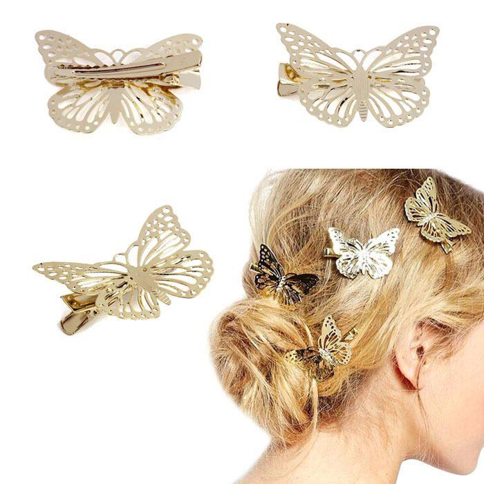 peinado con broches de mariposa