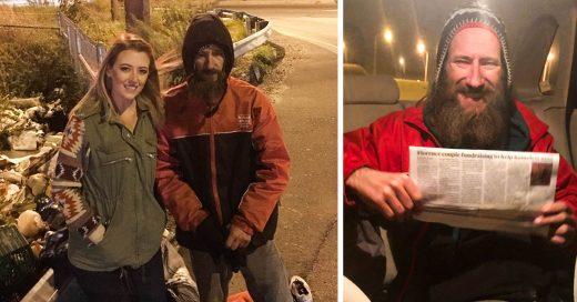 Esta chica quedó varada a mitad de la carretera y un vagabundo la ayudó