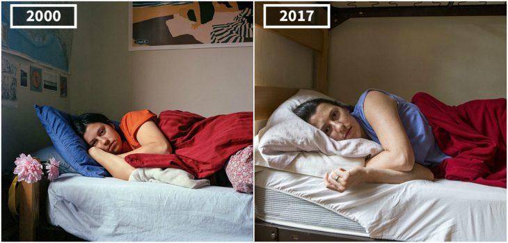 chica acostada en su cama