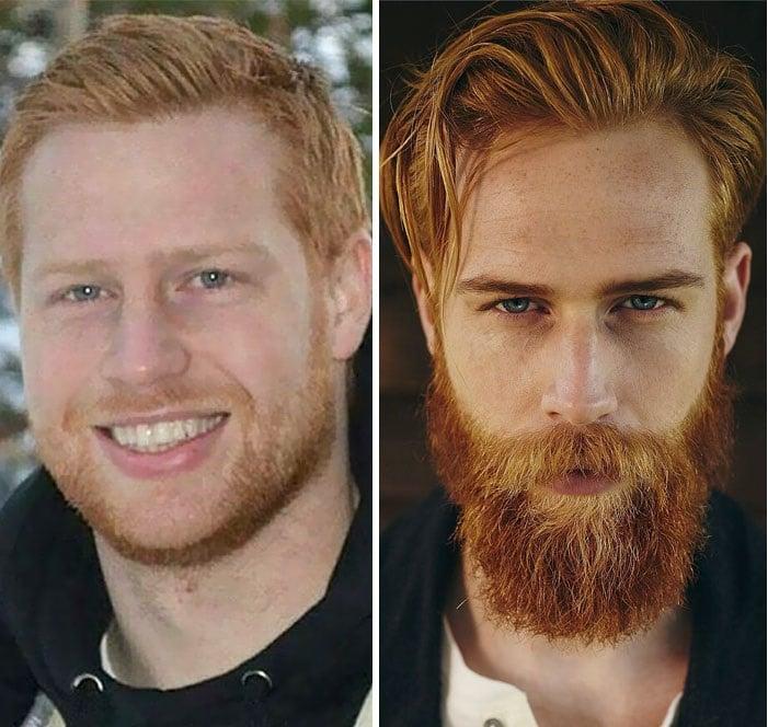 hombre mostrando su antes y después con barba