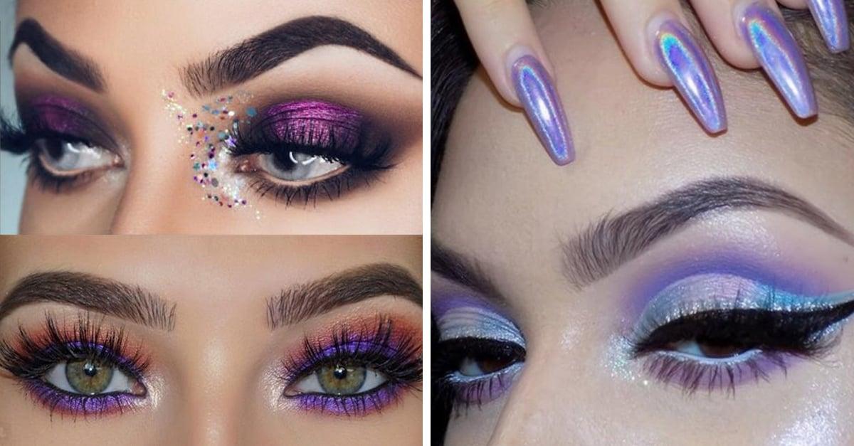 Ideas de maquillaje para ojos en morado