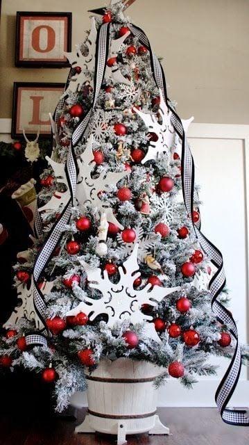 árbol de navidad decorado en tonos rojos con blanco y gris
