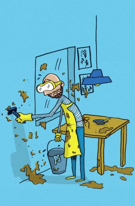 ilustración de hombre limpiando