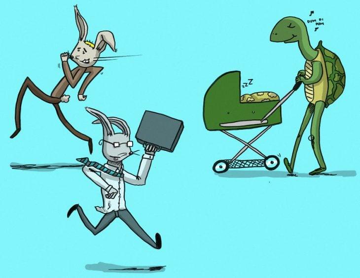 ilustración de hombre paseando una carriola