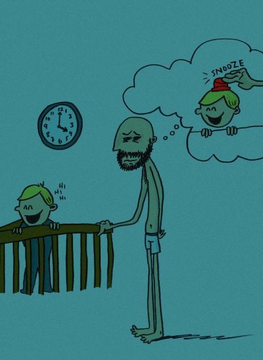 ilustración de hombre desvelado