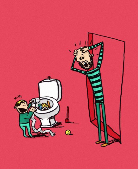 ilustración de niño en la taza de baño