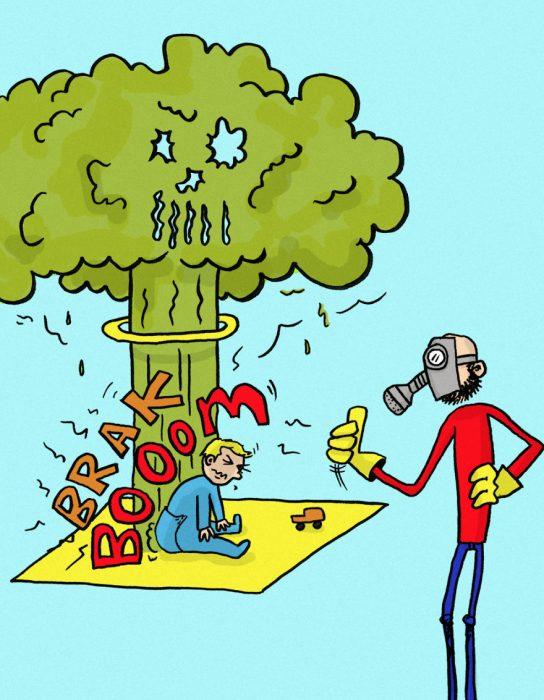 ilustración de niño con mal olor