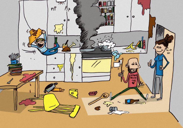 ilustración de niño jugando en la cocina