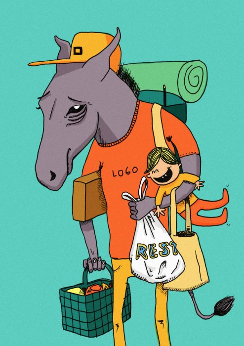 ilustración de una mula
