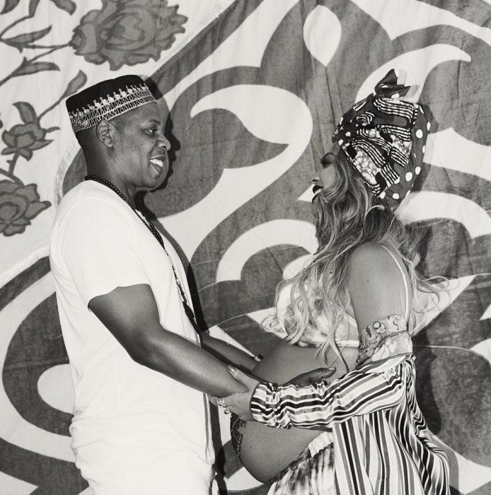 Beyoncé y Jay z en una fotografía durante su embarazo