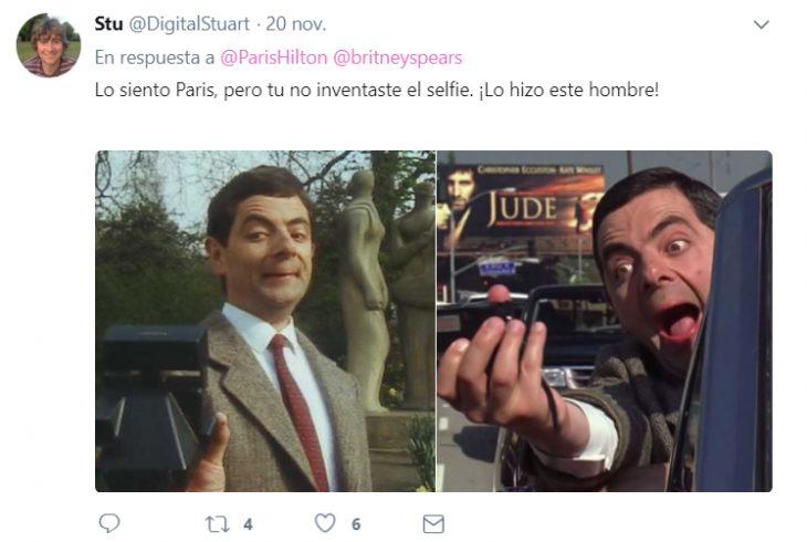 Comentarios de Twitter donde le deuestrana Paris Hilton que ella no inventó el selfie