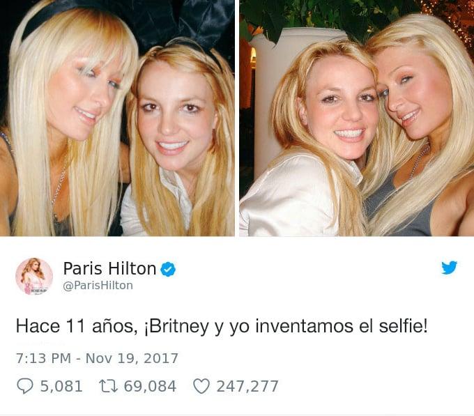 Publicación de Paris Hilton donde asegura que ella inventó el selfie en 2011