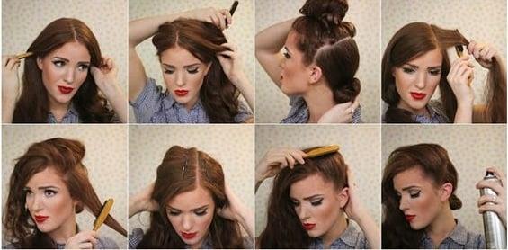 chica usando spray en el cabello