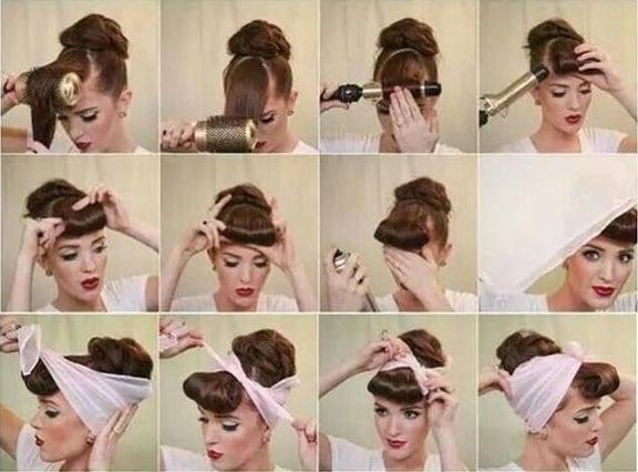 chica mostrando como ponerse una banda en el cabello