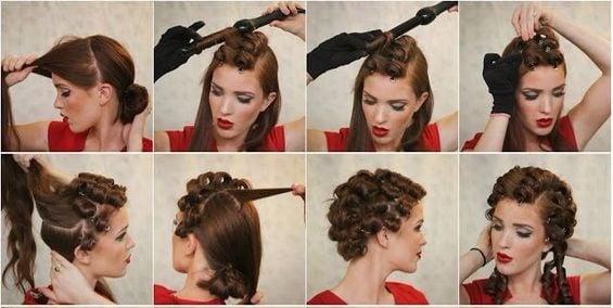 chica usando tenazas para el cabello