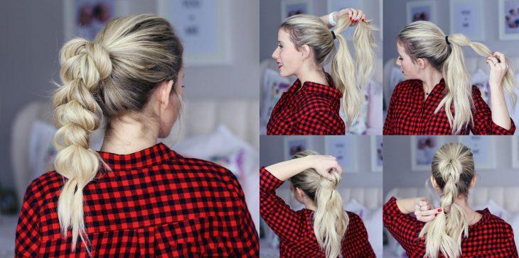 Peinado de coleta en trenza tejida estilo burbuja