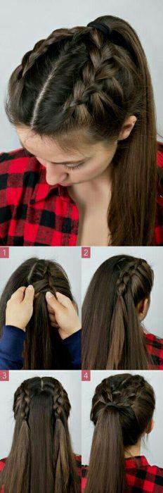 Peinado con trenza doble al frente sujetada en una coleta media