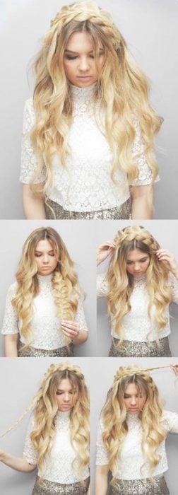 Peinado de trenza en corona con cabello suelto y ondulado