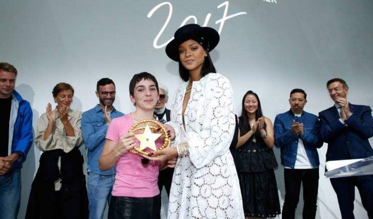 Rihanna durante la entrega de un premio de moda