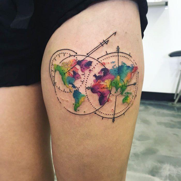 tatuaje de mapamundi