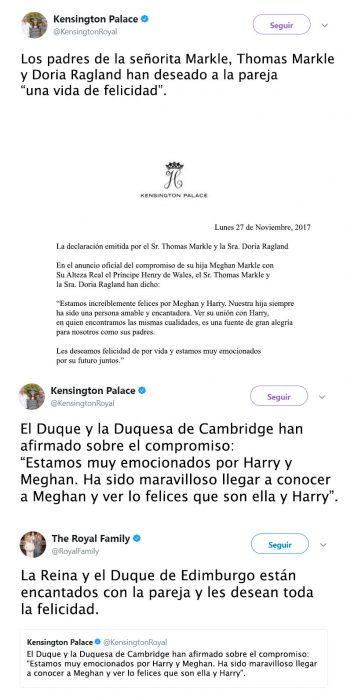 Tuit de felicitacion de compromiso de principe Harry y Meghan Markle