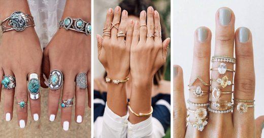 maneras de combinar tus anillos para un look chic
