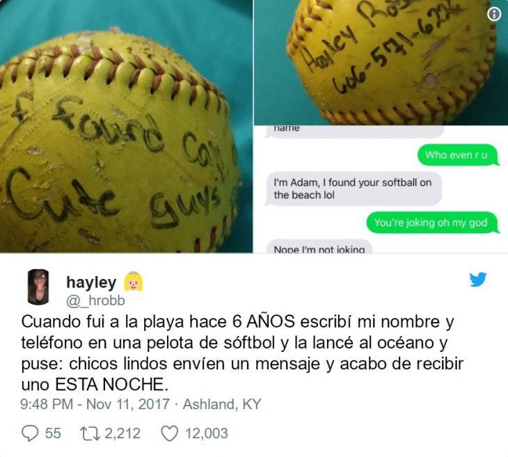 mensaje en una pelota