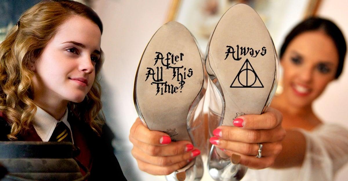 Estas zapatillas de boda llevan un mensaje oculto que son el sueño de toda fan de Harry potter