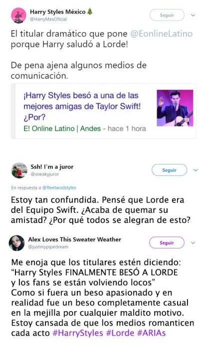 Tuits de Harry besa a Lorde