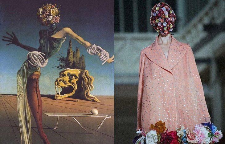 mujer cabeza de rosas y coleccion de maison margiela