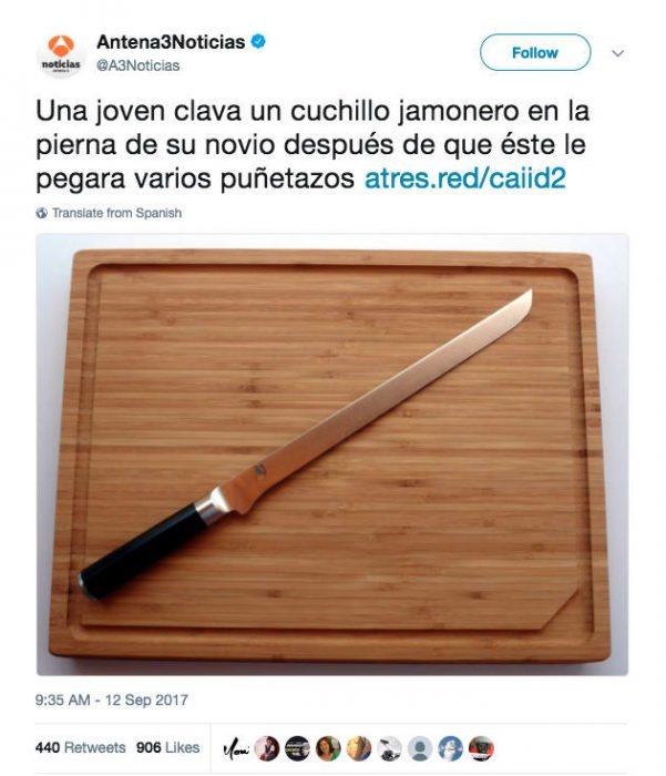 cuchillo sobre una tabla
