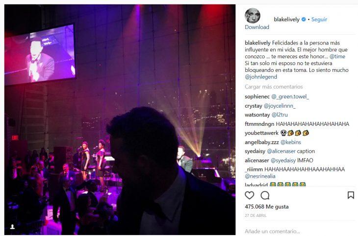 Comentario en Instagramd e Blake lively a su esposo