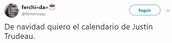 Calendario de Justin Trudeau comentario twitter