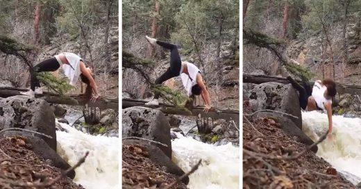 Esta chica sufrió una caía al intentar hacer una pose de Yoga