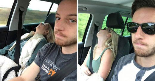 Este chico hizo una divertida compilación de las fotos de viaje de su esposa