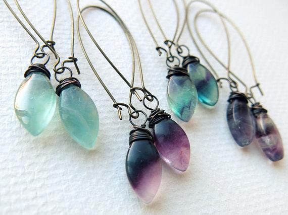 pendientes de cristal de colores