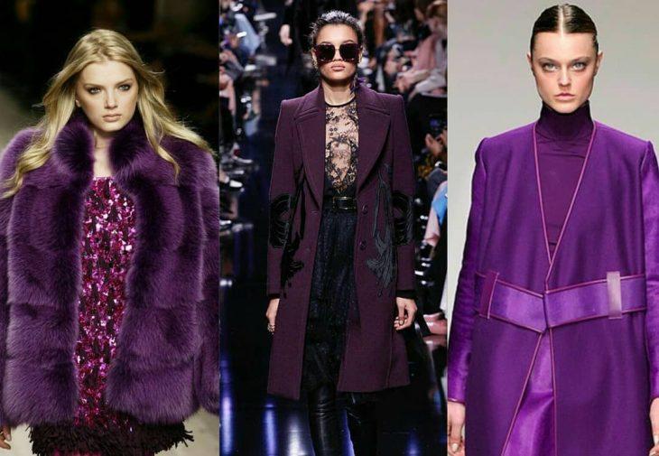Mujeres usando ropa en tono violeta